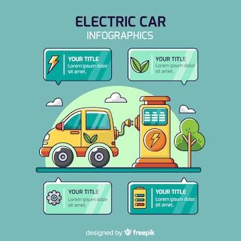 Infográfico de carro elétrico desenhado de mão