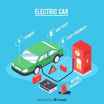 Infográfico de carro elétrico isométrico