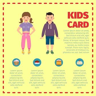 Infográfico de cartão amarelo crianças