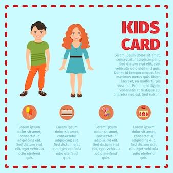 Infográfico de cartão azul crianças