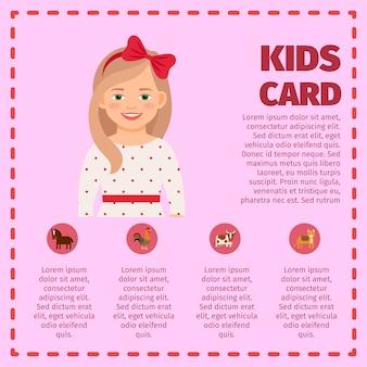 Infográfico de cartão de crianças com linda garota