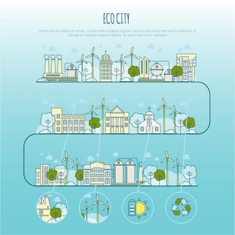 Infográfico de cidade de ecologia. modelo com ícones de linha fina de tecnologia de fazenda ecológica, sustentabilidade do ambiente local, economia de ecologia da cidade