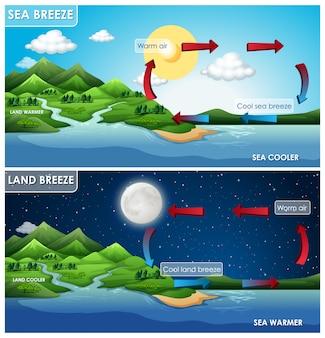 Infográfico de ciência para brisa terrestre e marítima