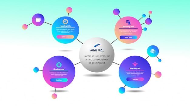 Infográfico de círculo colorido abstrato