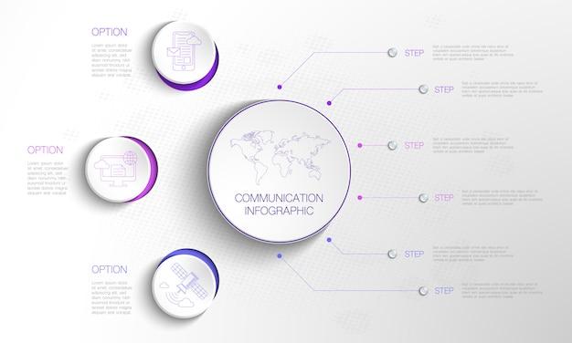 Infográfico de círculo com 3 opções de círculo e 6 etapas