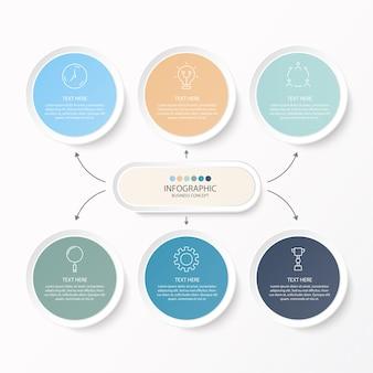 Infográfico de círculo com ícones de linhas finas