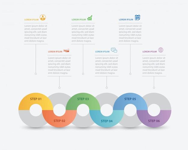 Infográfico de círculo com modelo abstrato de linha do tempo.