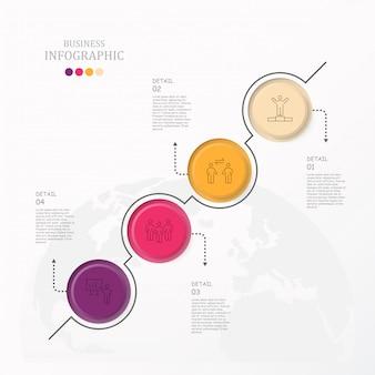 Infográfico de círculos coloridos com ícones de homem do trabalho.