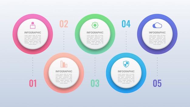 Infográfico de círculos coloridos com opções