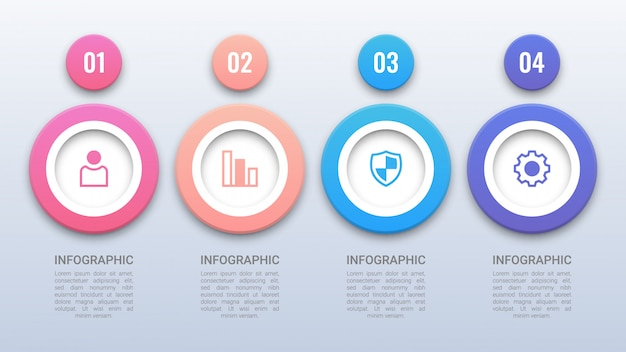 Infográfico de círculos coloridos simples com opções