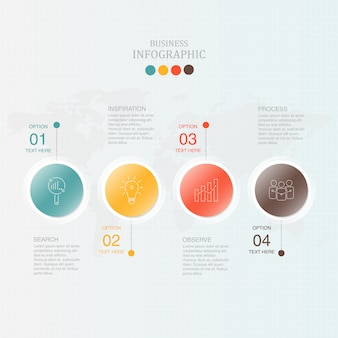 Infográfico de círculos com 4 processos.