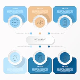 Infográfico de círculos com ícones de linhas finas