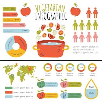 Infográfico de comida vegetariana desenhado à mão
