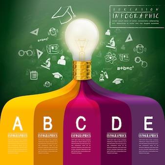 Infográfico de conceito criativo com elementos de lâmpada de iluminação