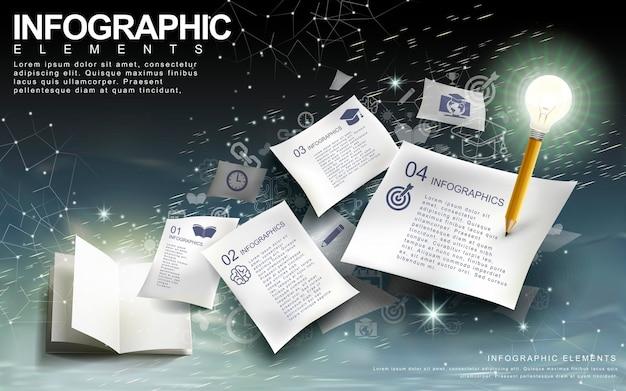 Infográfico de conceito de brainstorm com elementos de lâmpada, caneta e livro