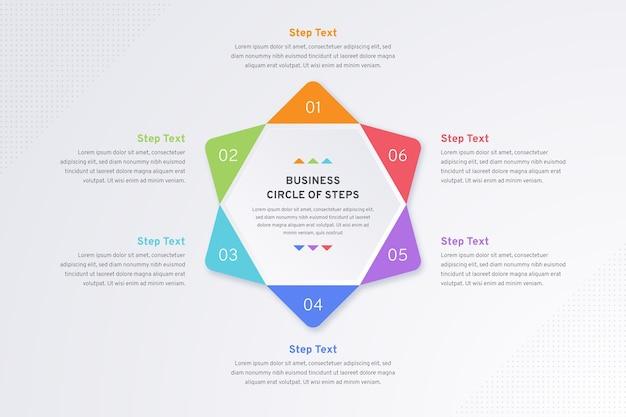 Infográfico de conjunto colorido de etapas
