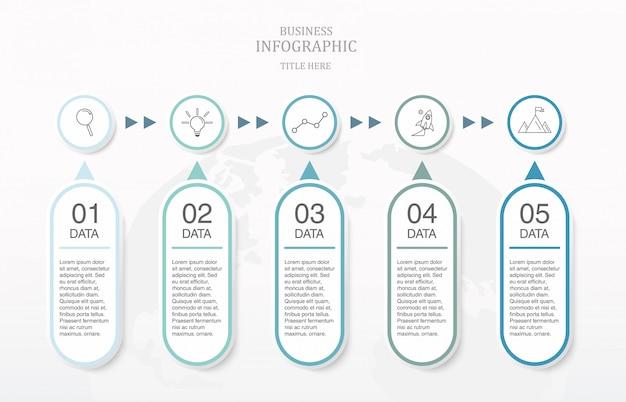 Infográfico de cor azul e ícones para o conceito de negócio.