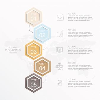 Infográfico de cor bonita e ícones para o conceito de negócio.