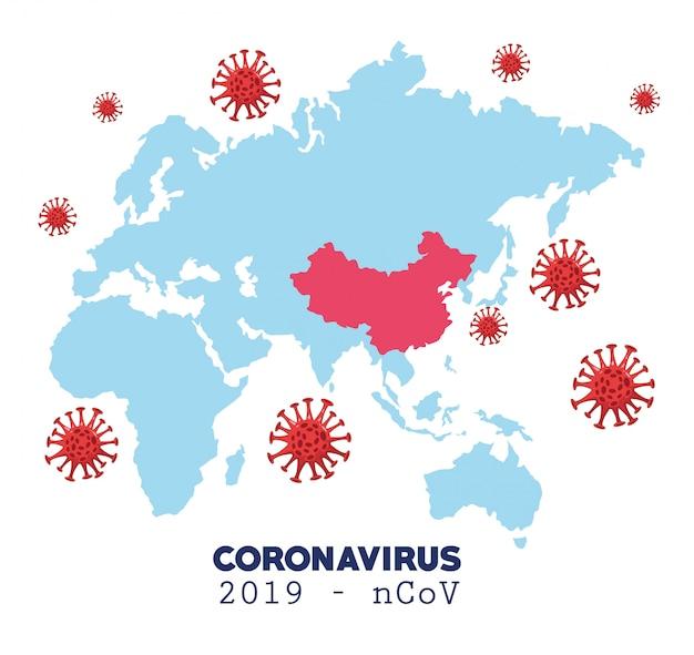 Infográfico de coronavírus com mapa e casos avançados
