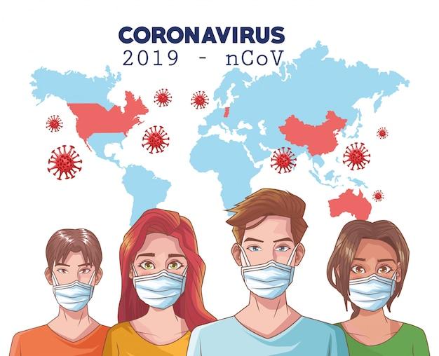 Infográfico de coronavírus com pessoas usando a máscara e o mapa do mundo