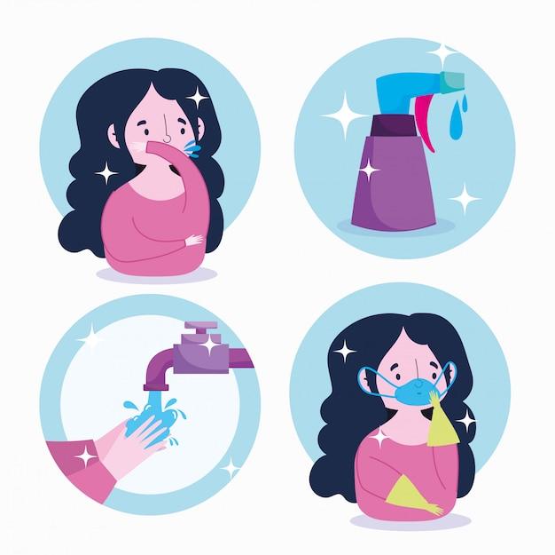 Infográfico de coronavírus covid 19, prevenção usando máscara, luvas, desinfetante para as mãos, frasco de líquido