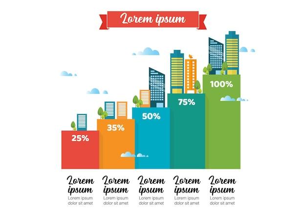Infográfico de crescimento urbano. ilustração vetorial