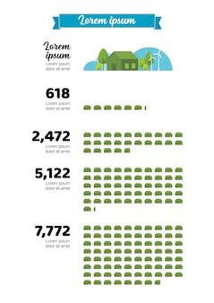 Infográfico de crescimento urbano verde. ilustração vetorial