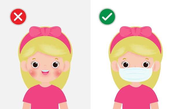 Infográfico de criança usando e sem máscara