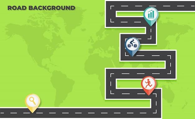 Infográfico de cronograma de mapa de estrada