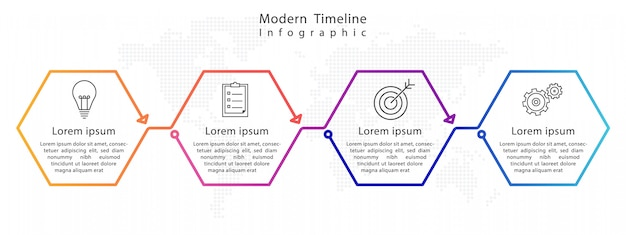Infográfico de cronograma moderno hexágono