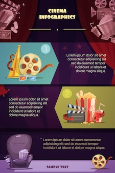 Infográfico de desenho animado de cinema