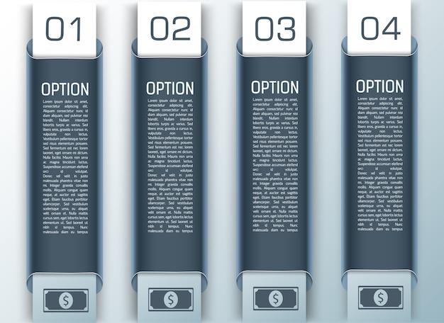 Infográfico de design colorido de negócios definido em estilo vertical de um a quatro