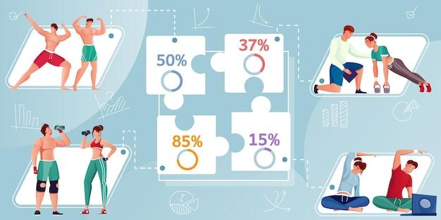 Infográfico de design plano com porcentagem e esportistas fazendo musculação e alongamento