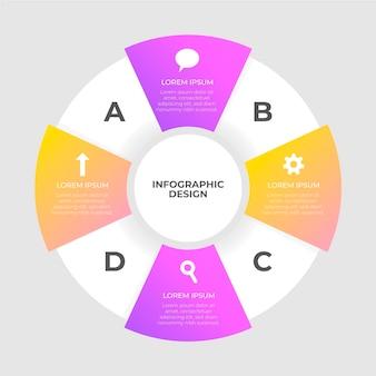 Infográfico de diagrama circular de design plano