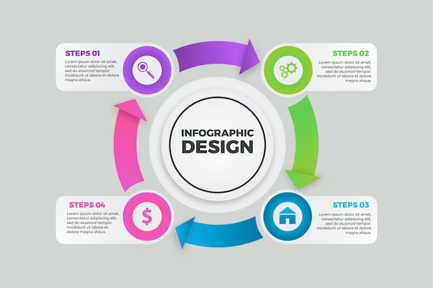 Infográfico de diagrama circular de gradiente