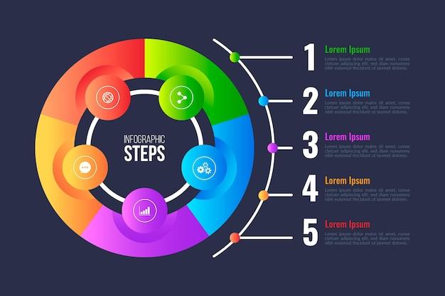 Infográfico de diagrama circular de gradiente Vetor Premium