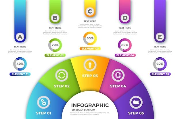 Infográfico de diagrama circular gradiente