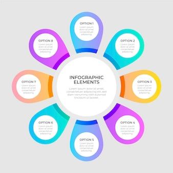 Infográfico de diagrama circular plano colorido