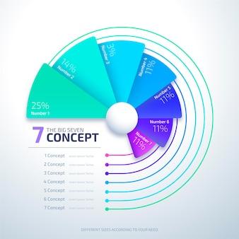 Infográfico de diagrama circular realista