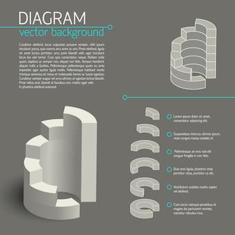 Infográfico de diagrama de negócios cinza com elementos isolados ou partes do gráfico e descrições