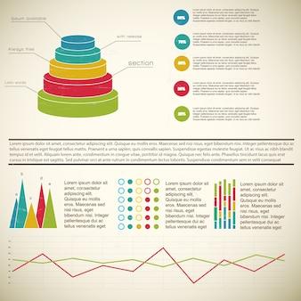 Infográfico de diagrama vintage 3d multicolorido com notas de rodapé e definições