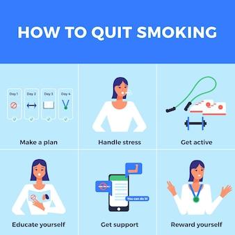 Infográfico de dicas para parar de fumar