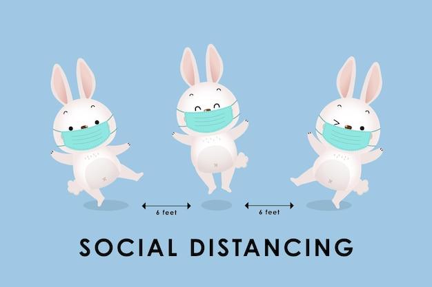 Infográfico de distanciamento social com coelhinha