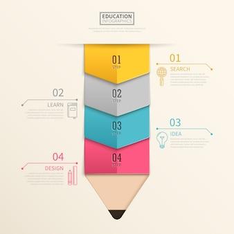 Infográfico de educação adorável com elementos de lápis coloridos