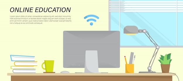 Infográfico de educação on-line com espaço de trabalho em casa e lugar para texto