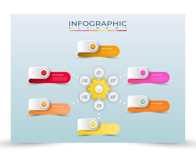Infográfico de elemento de 6 etapas