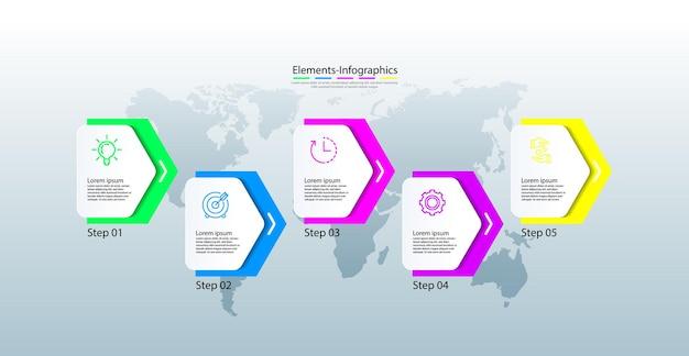 Infográfico de elementos colorido com cinco etapas