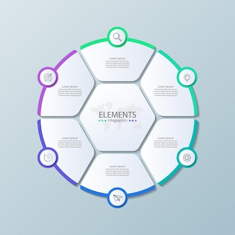 Infográfico de elementos de apresentação com seis etapas
