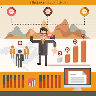 Infográfico de empresário com o empresário dos desenhos animados. ilustração vetorial