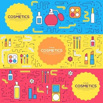 Infográfico de equipamentos cosméticos para beleza